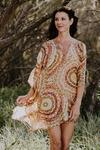 Cable Beach pure silk short kaftan dress
