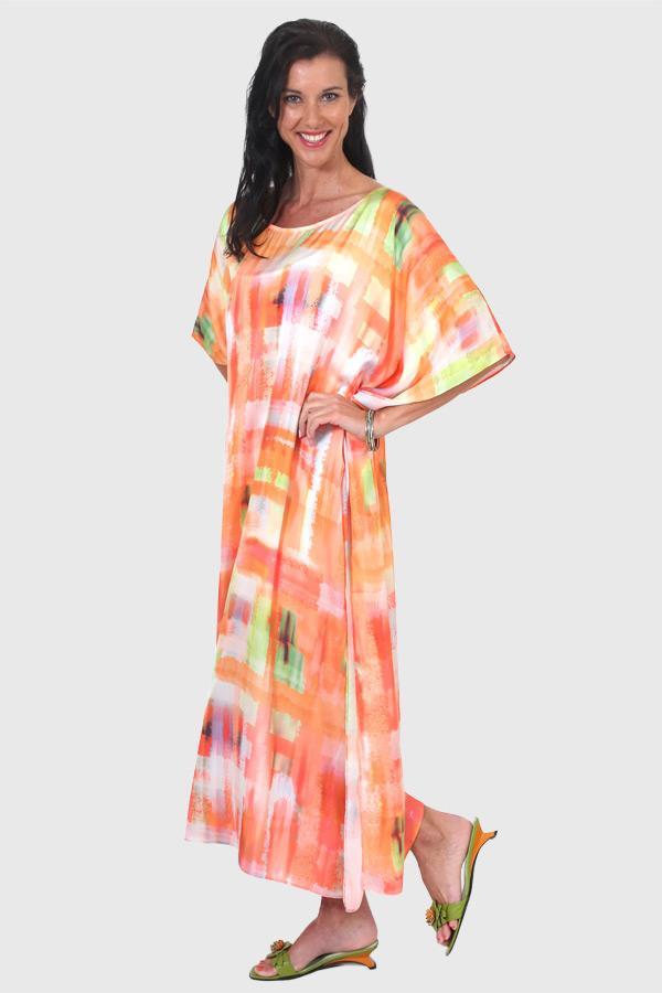 Chase The Sun long kaftan dress in satin