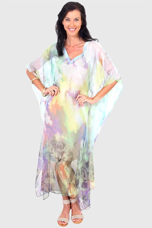 Make A Wish long kaftan dress in chiffon