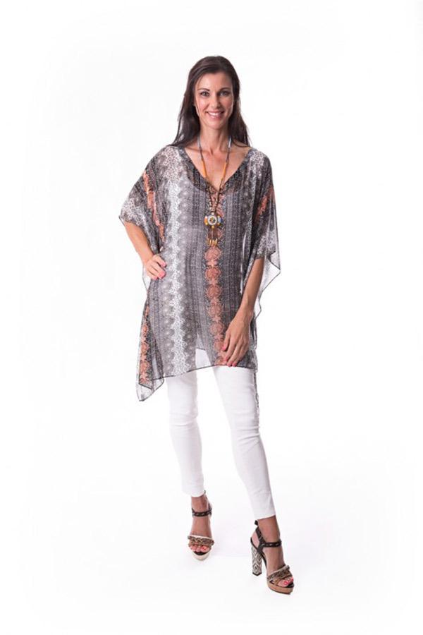 Venda short kaftan dress in chiffon